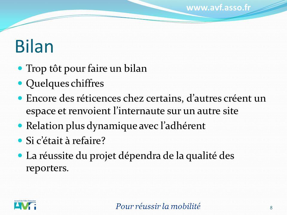www.avf.asso.fr Bilan Trop tôt pour faire un bilan Quelques chiffres Encore des réticences chez certains, dautres créent un espace et renvoient linter