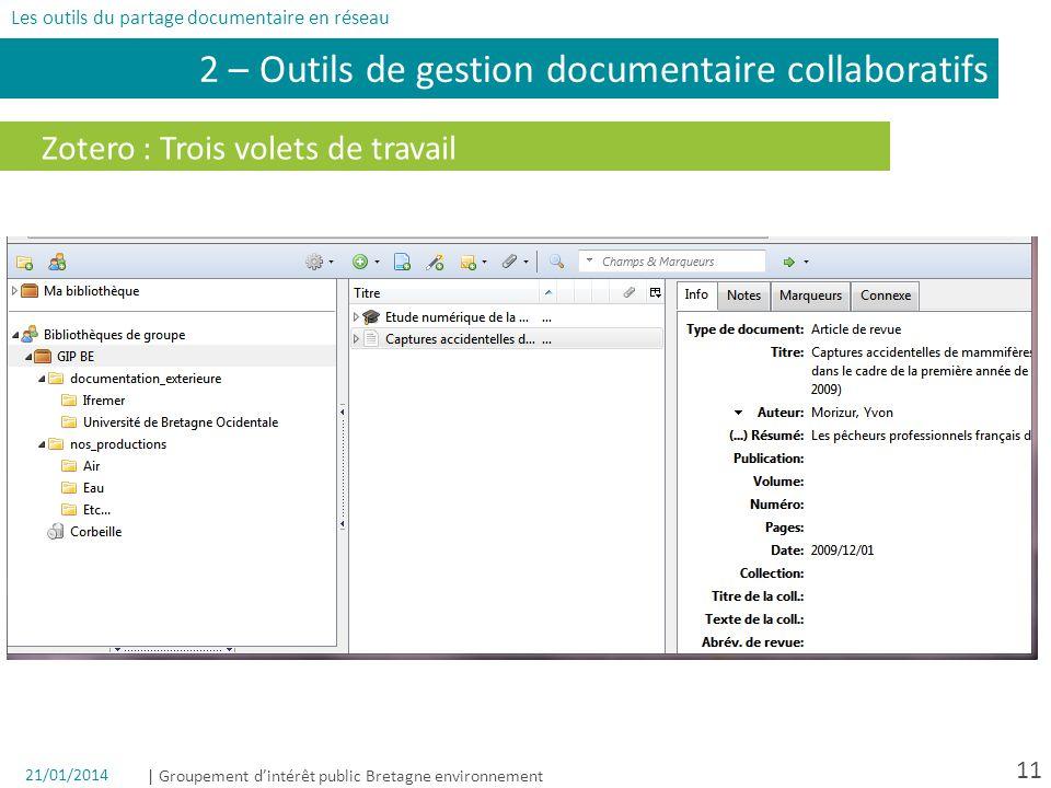 | Groupement dintérêt public Bretagne environnement 11 Zotero : Trois volets de travail 2 – Outils de gestion documentaire collaboratifs Les outils du partage documentaire en réseau 21/01/2014