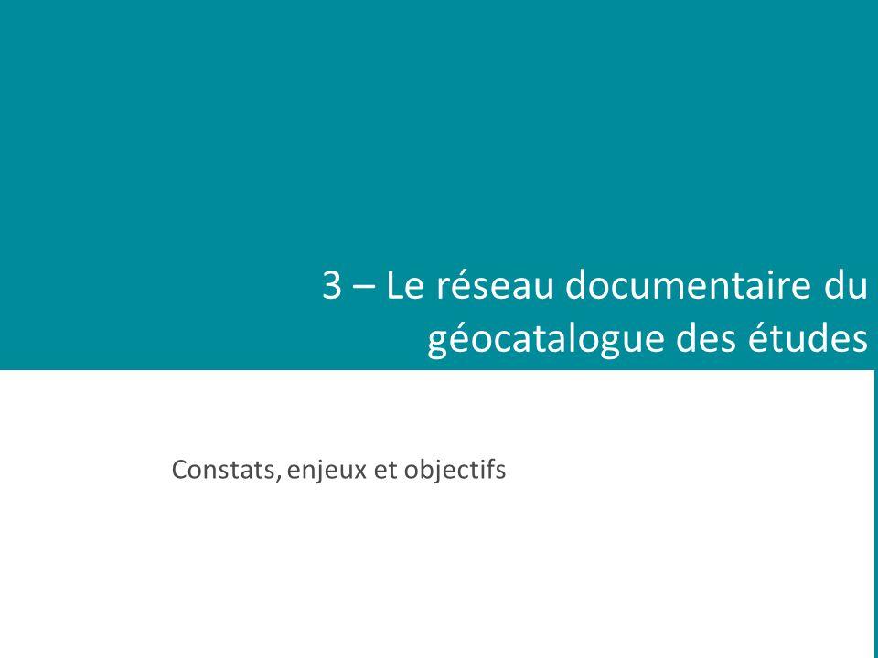 3 – Le réseau documentaire du géocatalogue des études Constats, enjeux et objectifs