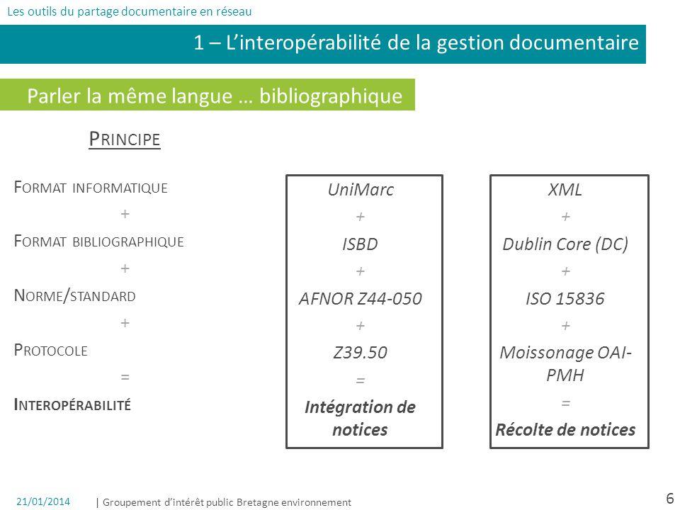 | Groupement dintérêt public Bretagne environnement 6 Parler la même langue … bibliographique UniMarc + ISBD + AFNOR Z44-050 + Z39.50 = Intégration de notices P RINCIPE F ORMAT INFORMATIQUE + F ORMAT BIBLIOGRAPHIQUE + N ORME / STANDARD + P ROTOCOLE = I NTEROPÉRABILITÉ 1 – Linteropérabilité de la gestion documentaire XML + Dublin Core (DC) + ISO 15836 + Moissonage OAI- PMH = Récolte de notices Les outils du partage documentaire en réseau 21/01/2014