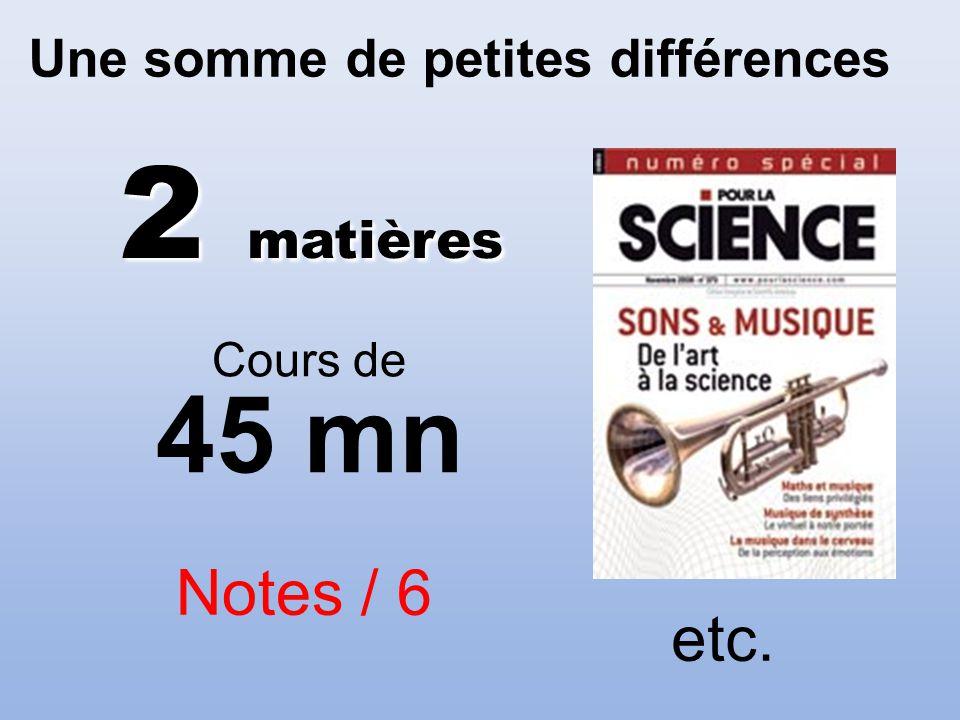 Une somme de petites différences Notes / 6 etc. 2 matières Cours de 45 mn