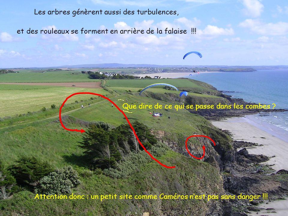 15 2005 www.vol-libre-menez-hom.com Les arbres génèrent aussi des turbulences, et des rouleaux se forment en arrière de la falaise !!! Que dire de ce