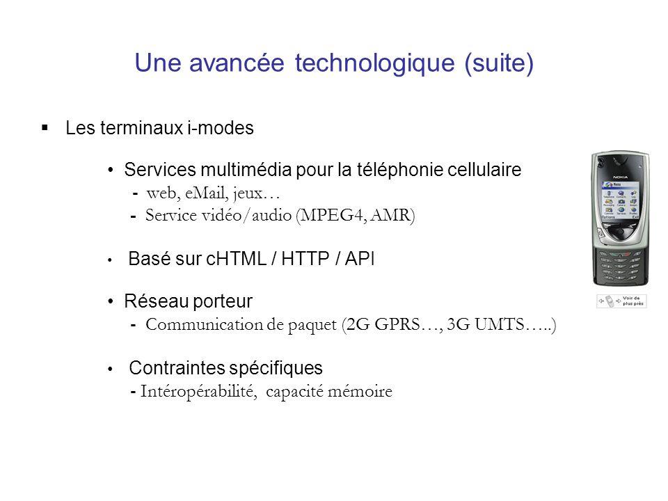Une avancée technologique (suite) Les terminaux i-modes Services multimédia pour la téléphonie cellulaire - web, eMail, jeux… - Service vidéo/audio (MPEG4, AMR) Basé sur cHTML / HTTP / API Réseau porteur - Communication de paquet (2G GPRS…, 3G UMTS…..) Contraintes spécifiques - Intéropérabilité, capacité mémoire