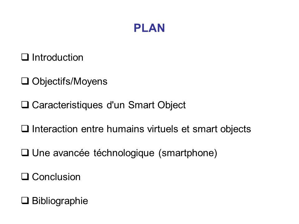 PLAN Introduction Objectifs/Moyens Caracteristiques d un Smart Object Interaction entre humains virtuels et smart objects Une avancée téchnologique (smartphone) Conclusion Bibliographie