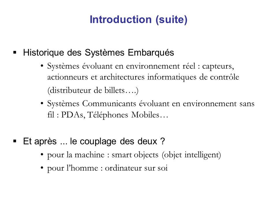 Introduction (suite) Historique des Systèmes Embarqués Systèmes évoluant en environnement réel : capteurs, actionneurs et architectures informatiques