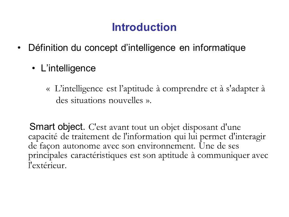 Introduction Définition du concept dintelligence en informatique Lintelligence « Lintelligence est laptitude à comprendre et à s adapter à des situations nouvelles ».