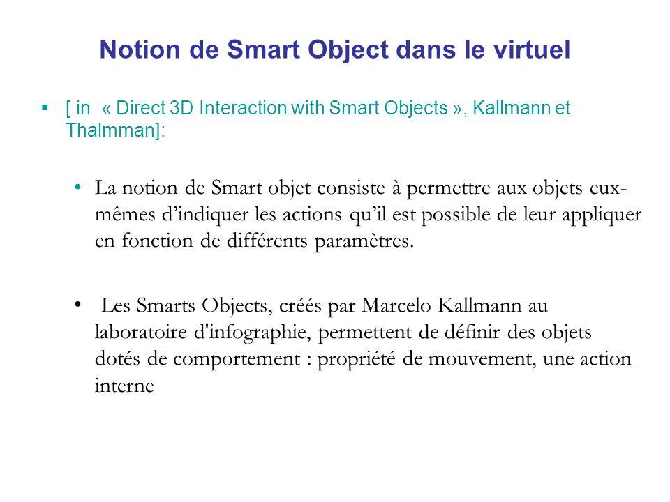 Notion de Smart Object dans le virtuel [ in « Direct 3D Interaction with Smart Objects », Kallmann et Thalmman]: La notion de Smart objet consiste à permettre aux objets eux- mêmes dindiquer les actions quil est possible de leur appliquer en fonction de différents paramètres.