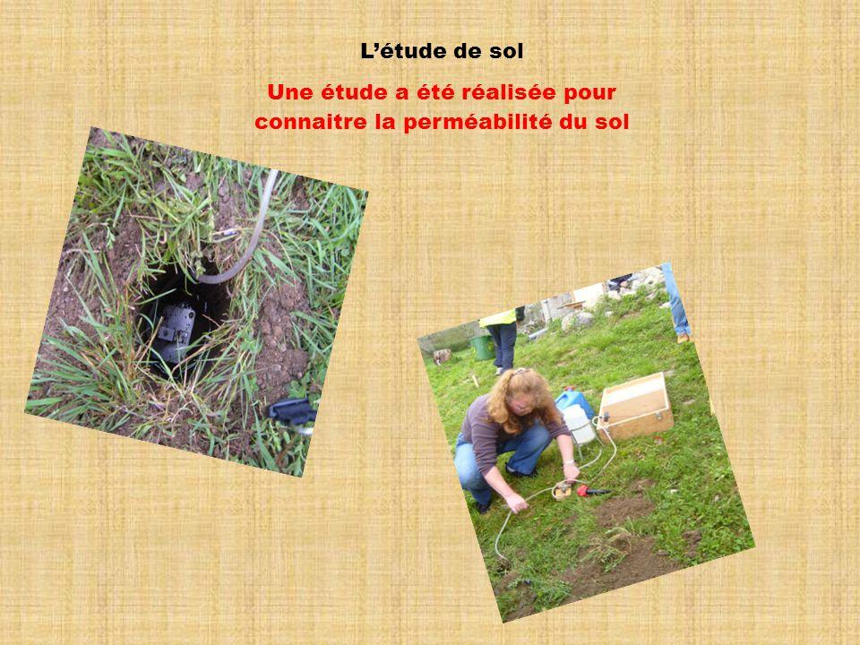 Létude de sol Une étude a été réalisée pour connaitre la perméabilité du sol