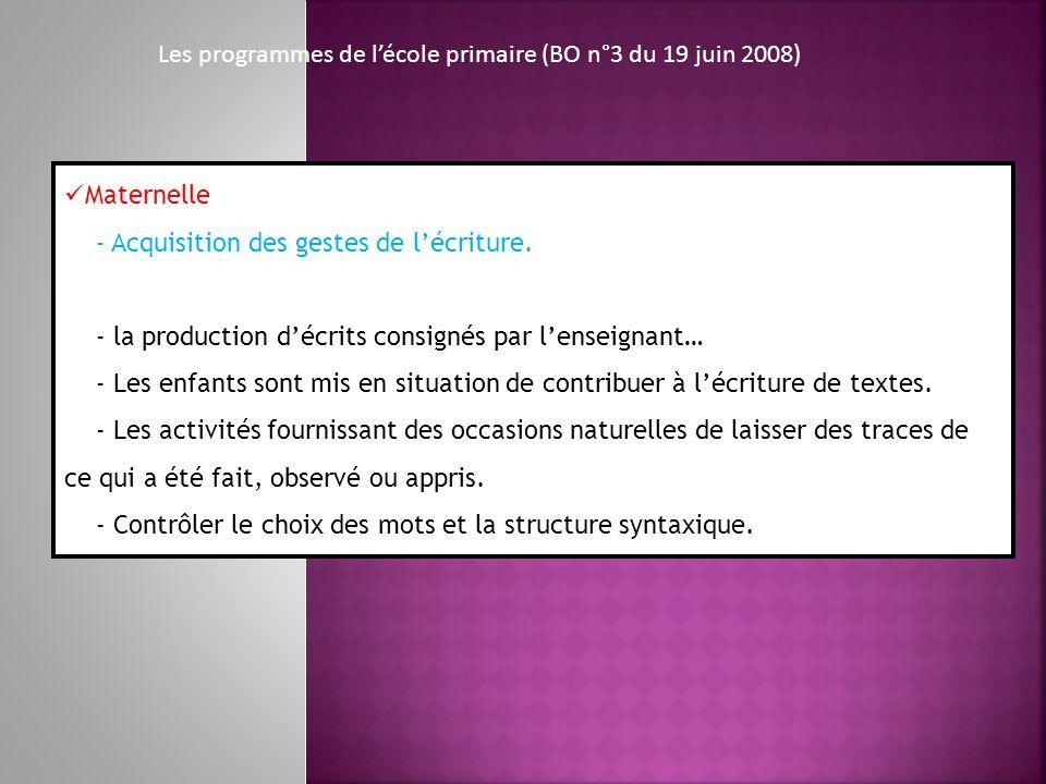 Les programmes de lécole primaire (BO n°3 du 19 juin 2008) Maternelle - Acquisition des gestes de lécriture. - la production décrits consignés par len