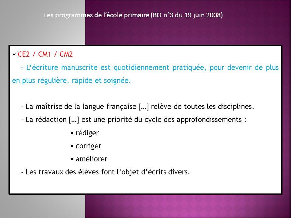 Les programmes de lécole primaire (BO n°3 du 19 juin 2008) CE2 / CM1 / CM2 - Lécriture manuscrite est quotidiennement pratiquée, pour devenir de plus