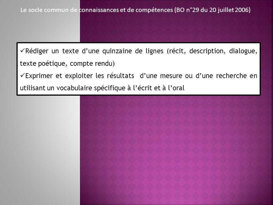 Le socle commun de connaissances et de compétences (BO n°29 du 20 juillet 2006) Rédiger un texte dune quinzaine de lignes (récit, description, dialogu