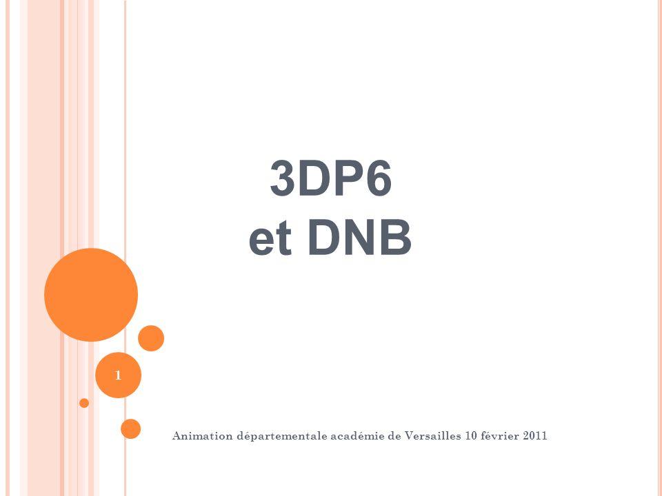 2 3DP6 et DNB Objectif Aider les équipes de 3DP6 à mettre en place les différentes modalités dévaluation et de validation du DNB session 2011
