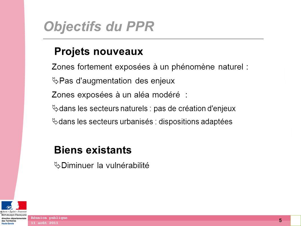 5 11 août 2011 Réunion publique 5 Objectifs du PPR Projets nouveaux Zones fortement exposées à un phénomène naturel : Pas d'augmentation des enjeux Zo
