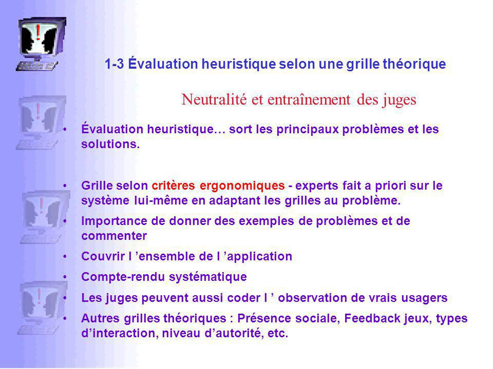 1-3 Évaluation heuristique selon une grille théorique Évaluation heuristique… sort les principaux problèmes et les solutions.
