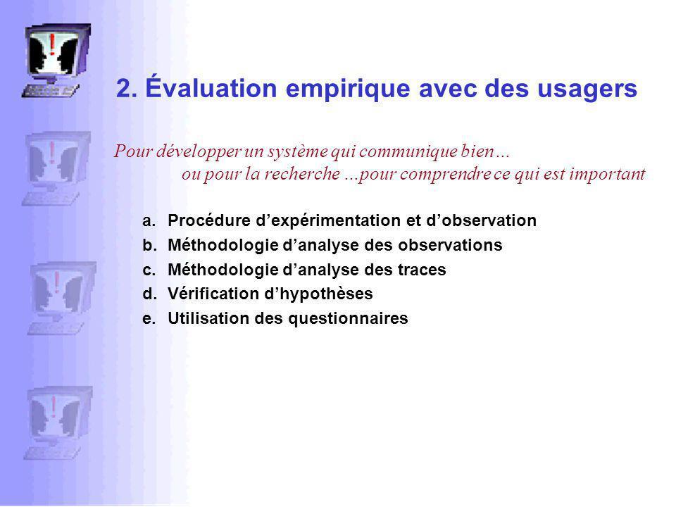 2. Évaluation empirique avec des usagers a.Procédure dexpérimentation et dobservation b.Méthodologie danalyse des observations c.Méthodologie danalyse