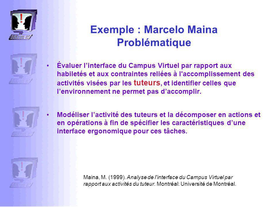 Exemple : Marcelo Maina Problématique Évaluer linterface du Campus Virtuel par rapport aux habiletés et aux contraintes reliées à l accomplissement des activités visées par les tuteurs, et identifier celles que lenvironnement ne permet pas daccomplir.