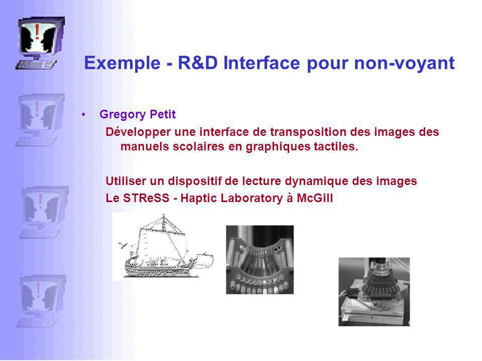 Exemple - R&D Interface pour non-voyant Gregory Petit Développer une interface de transposition des images des manuels scolaires en graphiques tactiles.