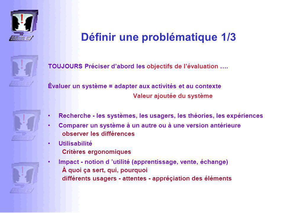 Définir une problématique 1/3 TOUJOURS Préciser dabord les objectifs de lévaluation ….
