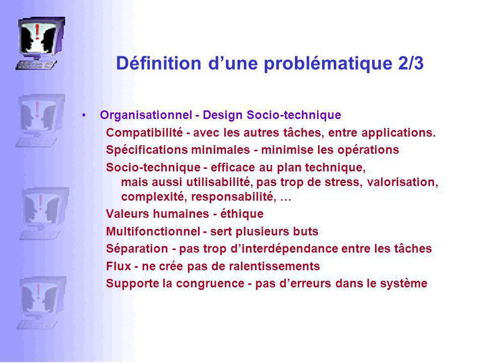 Définition dune problématique 2/3 Organisationnel - Design Socio-technique Compatibilité - avec les autres tâches, entre applications.