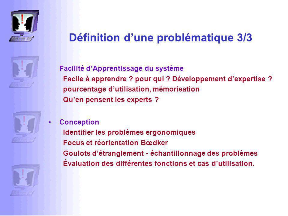 Définition dune problématique 3/3 Facilité dApprentissage du système Facile à apprendre .