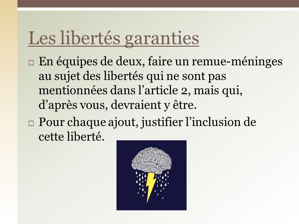 En équipes de deux, faire un remue-méninges au sujet des libertés qui ne sont pas mentionnées dans larticle 2, mais qui, daprès vous, devraient y être