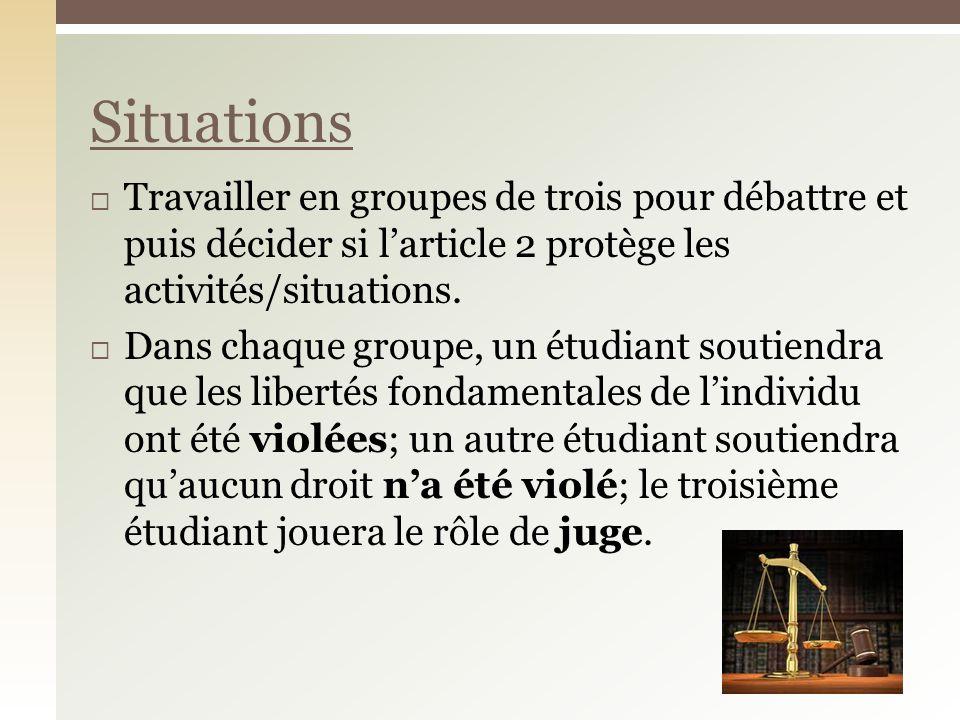Travailler en groupes de trois pour débattre et puis décider si larticle 2 protège les activités/situations. Dans chaque groupe, un étudiant soutiendr