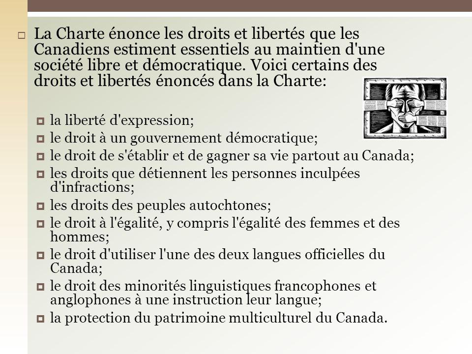 La Charte énonce les droits et libertés que les Canadiens estiment essentiels au maintien d'une société libre et démocratique. Voici certains des droi