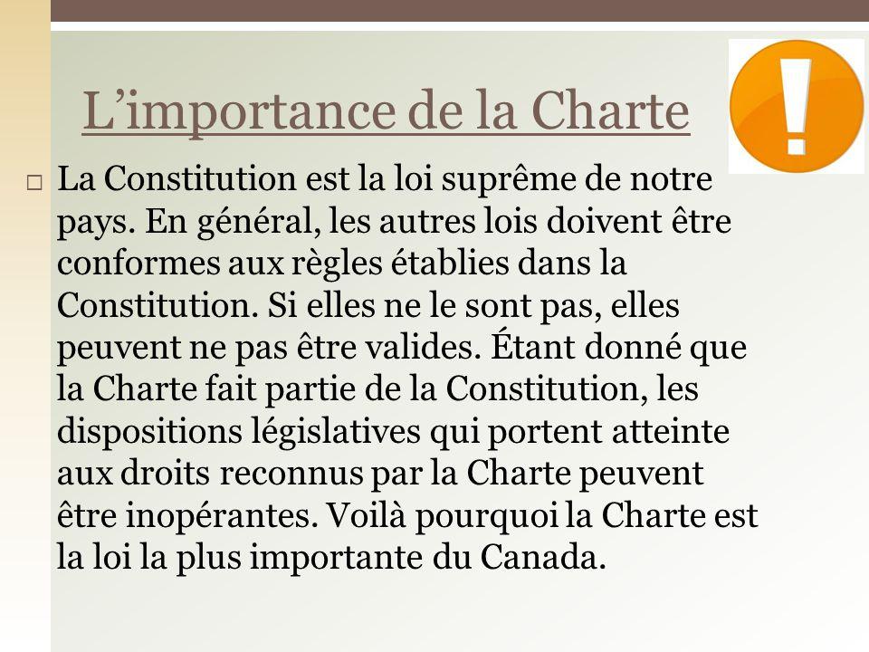 La Constitution est la loi suprême de notre pays. En général, les autres lois doivent être conformes aux règles établies dans la Constitution. Si elle