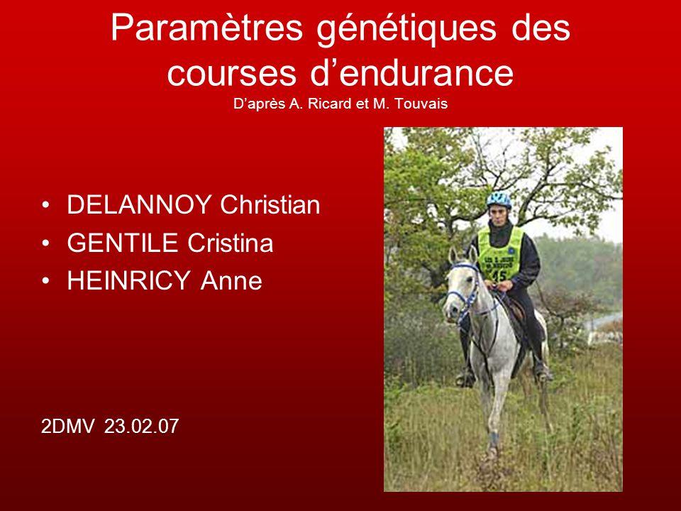 Paramètres génétiques des courses dendurance Daprès A. Ricard et M. Touvais DELANNOY Christian GENTILE Cristina HEINRICY Anne 2DMV 23.02.07