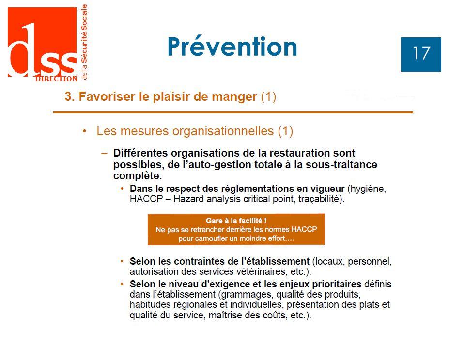 d SS DIRECTION de la Sécurité Sociale 17 Prévention