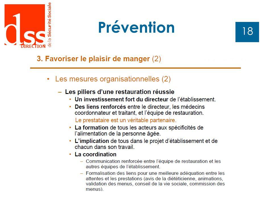 d SS DIRECTION de la Sécurité Sociale 18 Prévention