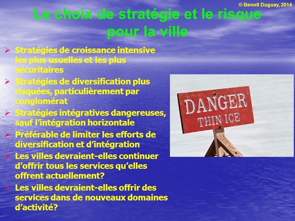© Benoit Duguay, 2014 Le choix de stratégie et le risque pour la ville Stratégies de croissance intensive les plus usuelles et les plus sécuritaires S