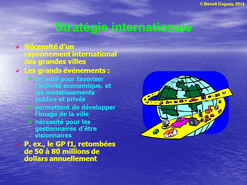 © Benoit Duguay, 2014 Stratégie internationale Nécessité dun rayonnement international des grandes villes Les grands événements : un outil pour favori