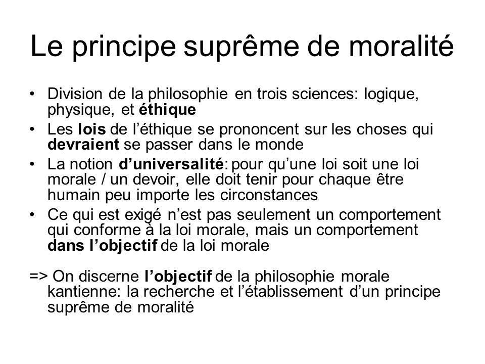 Le principe suprême de moralité Division de la philosophie en trois sciences: logique, physique, et éthique Les lois de léthique se prononcent sur les