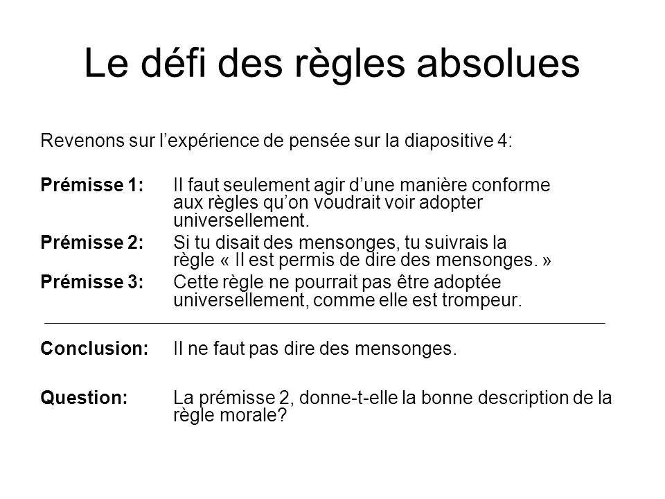 Le défi des règles absolues Revenons sur lexpérience de pensée sur la diapositive 4: Prémisse 1:Il faut seulement agir dune manière conforme aux règle