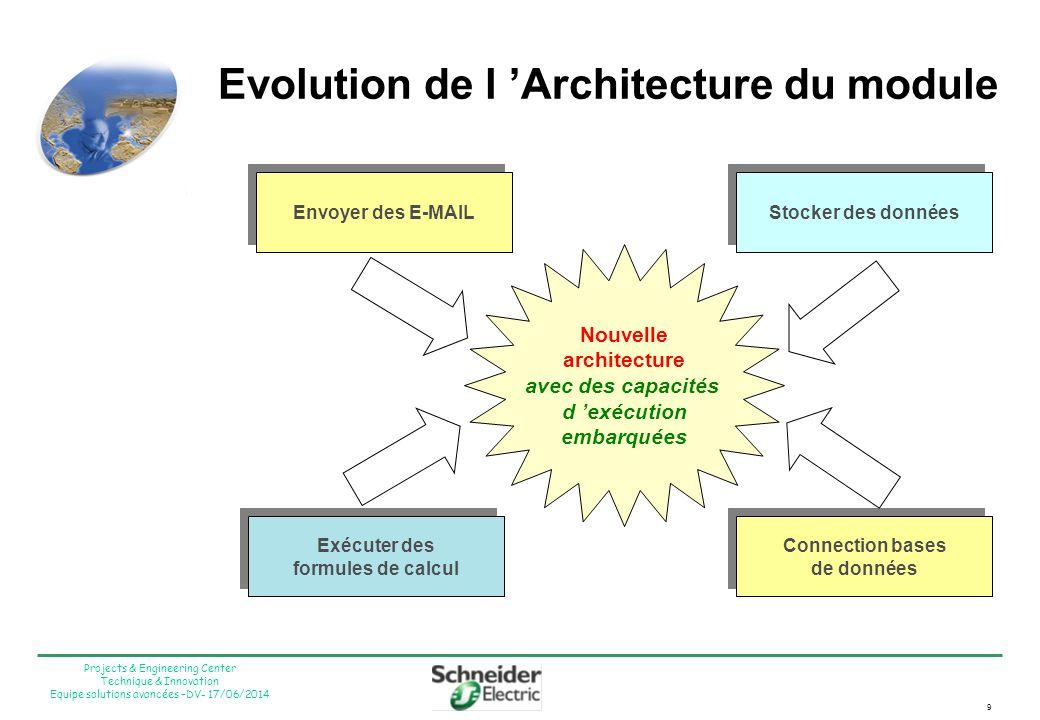 9 Projects & Engineering Center Technique & Innovation Equipe solutions avancées –DV- 17/06/2014 Nouvelle architecture avec des capacités d exécution