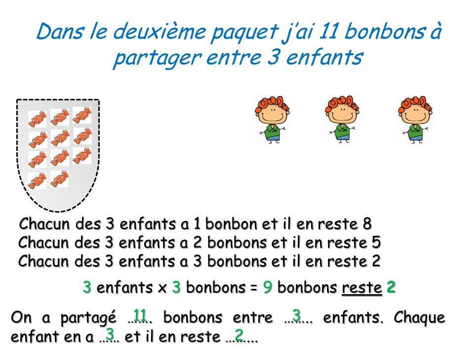 Dans le deuxième paquet jai 11 bonbons à partager entre 3 enfants On a partagé …….