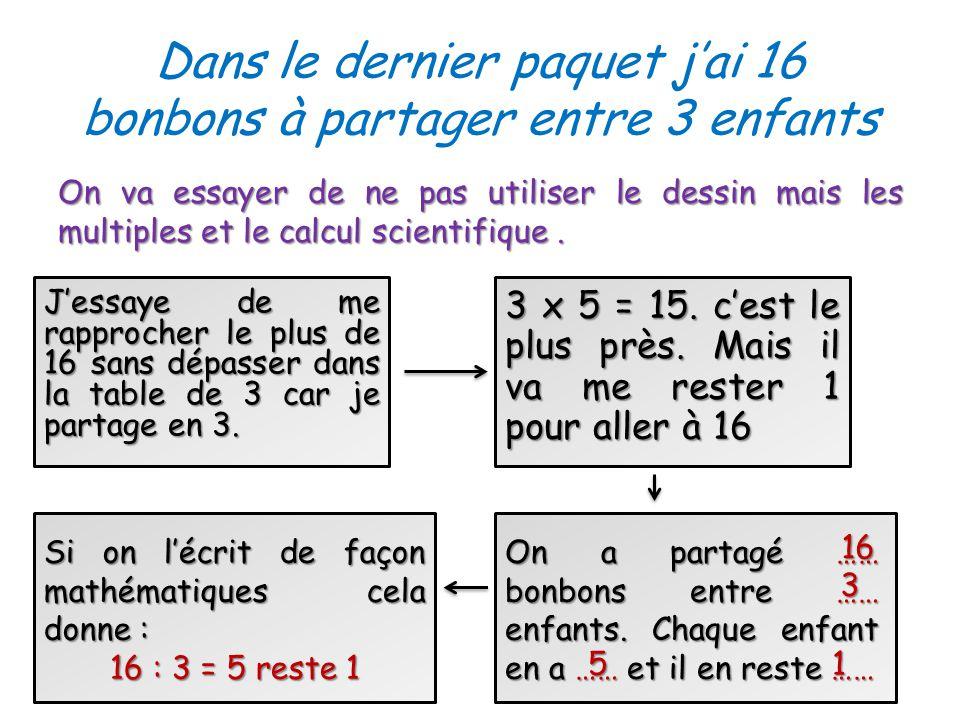 Dans le dernier paquet jai 16 bonbons à partager entre 3 enfants On va essayer de ne pas utiliser le dessin mais les multiples et le calcul scientifique.