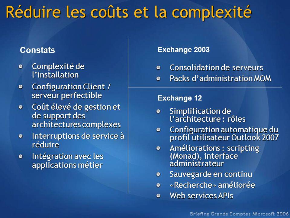 Réduire les coûts et la complexité Complexité de linstallation Configuration Client / serveur perfectible Coût élevé de gestion et de support des arch
