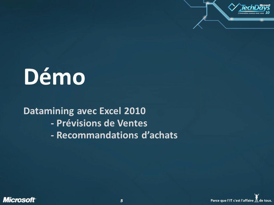 55 Démo Datamining avec Excel 2010 - Prévisions de Ventes - Recommandations dachats