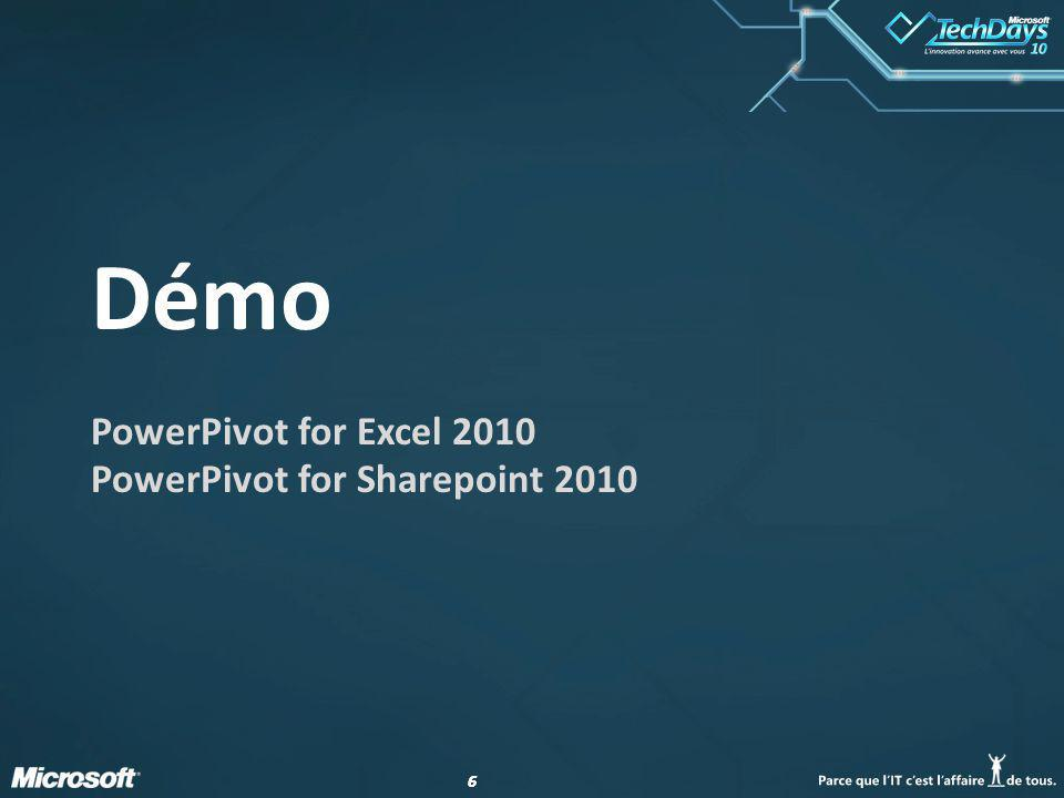 66 Démo PowerPivot for Excel 2010 PowerPivot for Sharepoint 2010