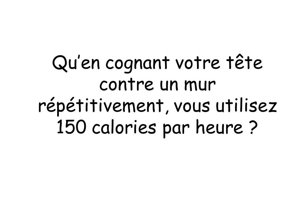 Quen cognant votre tête contre un mur répétitivement, vous utilisez 150 calories par heure ?
