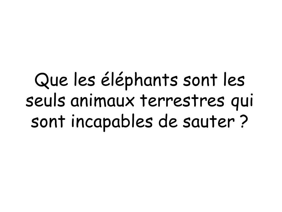 Que les éléphants sont les seuls animaux terrestres qui sont incapables de sauter ?