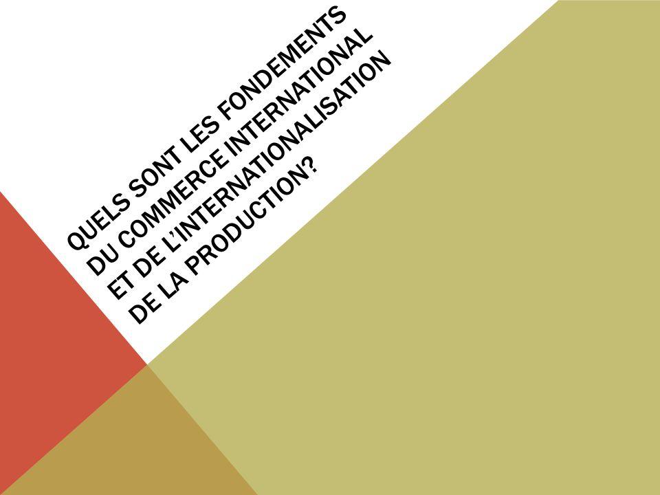QUELS SONT LES FONDEMENTS DU COMMERCE INTERNATIONAL ET DE LINTERNATIONALISATION DE LA PRODUCTION?