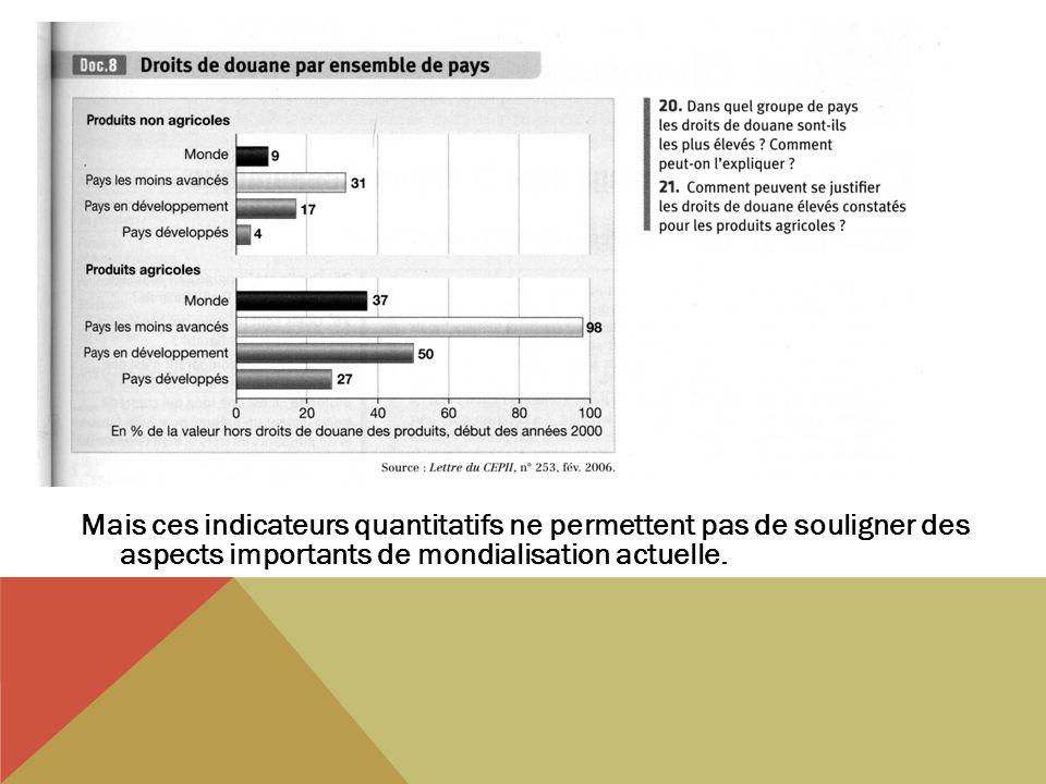 Mais ces indicateurs quantitatifs ne permettent pas de souligner des aspects importants de mondialisation actuelle.
