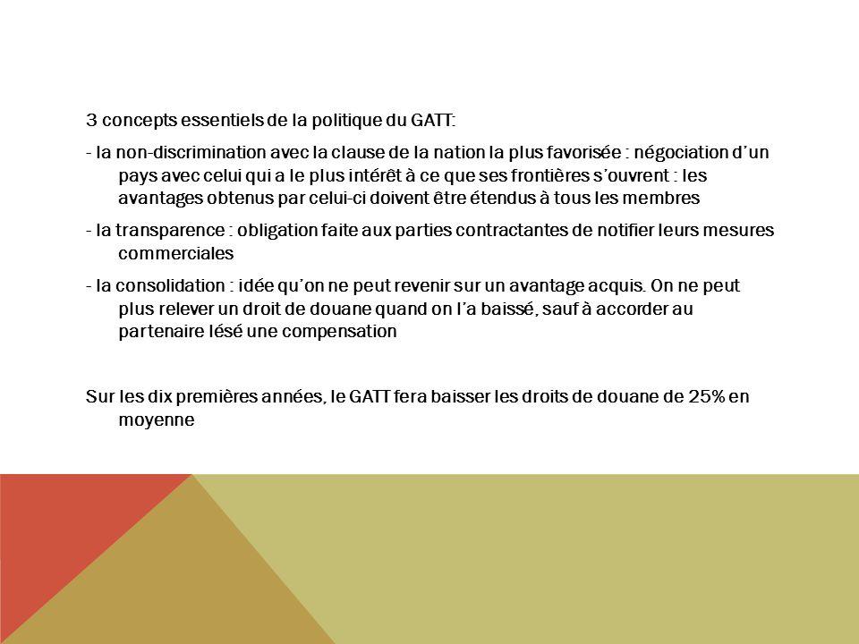 3 concepts essentiels de la politique du GATT: - la non-discrimination avec la clause de la nation la plus favorisée : négociation dun pays avec celui