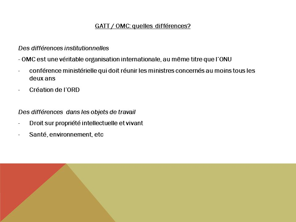 GATT / OMC: quelles différences.