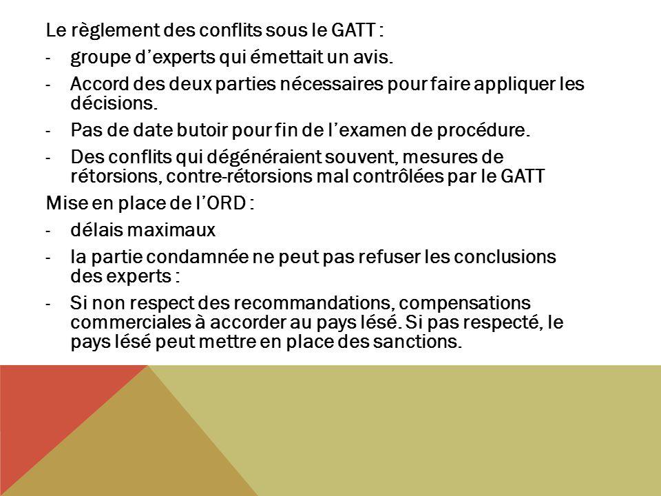 Le règlement des conflits sous le GATT : -groupe dexperts qui émettait un avis. -Accord des deux parties nécessaires pour faire appliquer les décision