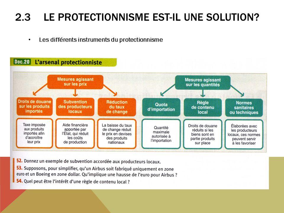 2.3LE PROTECTIONNISME EST-IL UNE SOLUTION? Les différents instruments du protectionnisme