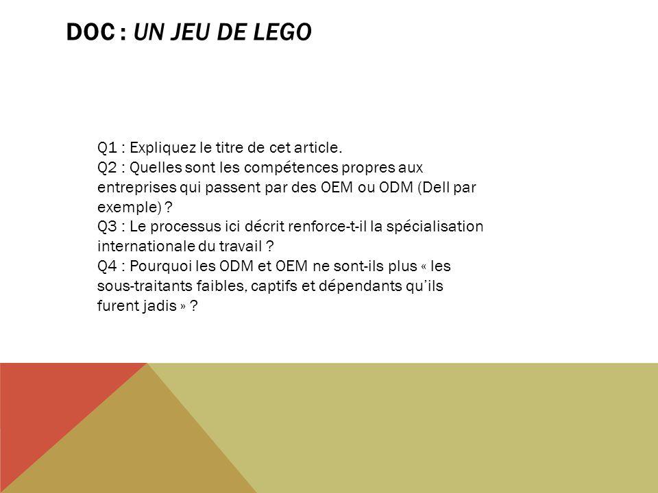 DOC : UN JEU DE LEGO Q1 : Expliquez le titre de cet article. Q2 : Quelles sont les compétences propres aux entreprises qui passent par des OEM ou ODM